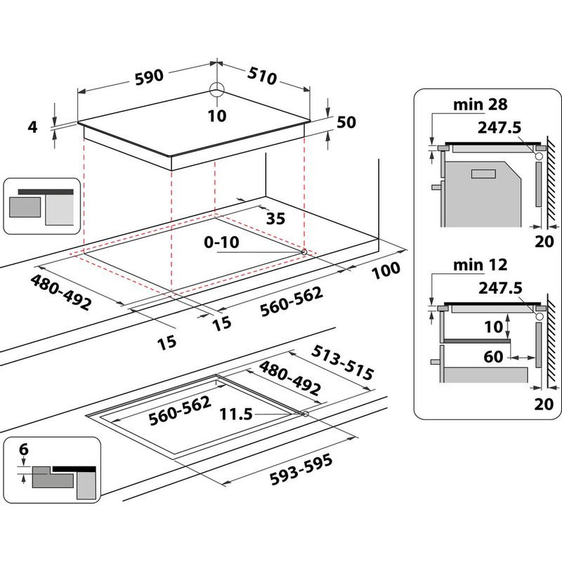 Whirlpool-Table-de-cuisson-WS-Q5760-NE-Noir-Induction-vitroceramic-Technical-drawing