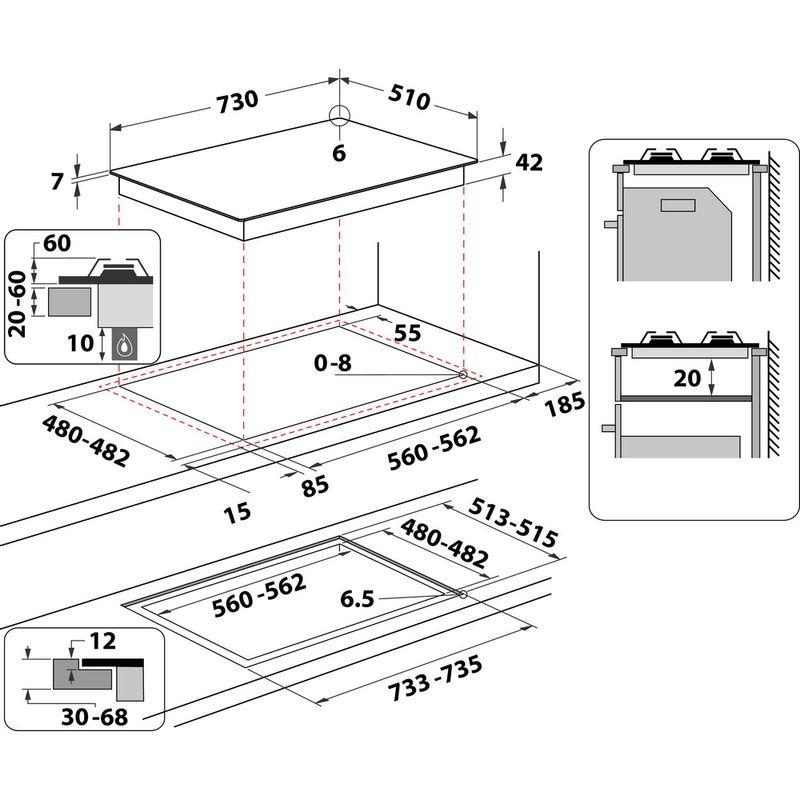 Whirlpool-Table-de-cuisson-GOWL-758-NB-FR-Noir-Gaz-Technical-drawing