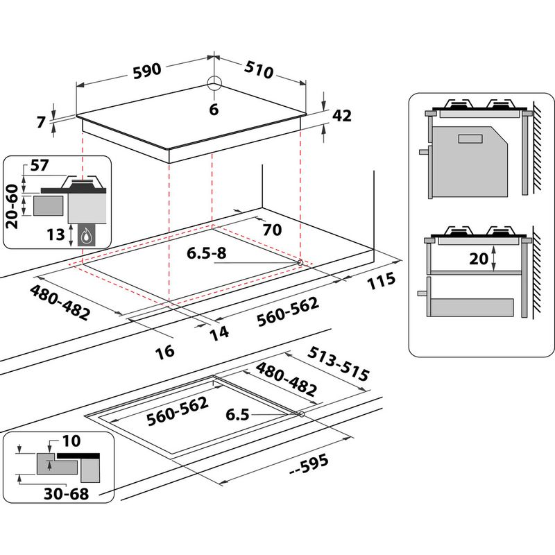 Whirlpool-Table-de-cuisson-GOWL-628-WH-Blanc-Gaz-Technical-drawing