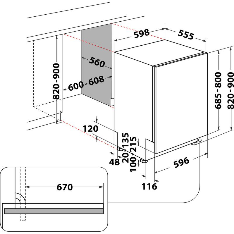 Whirlpool-Lave-vaisselle-Encastrable-WCIO-3T341-PES-Tout-integrable-C-Technical-drawing