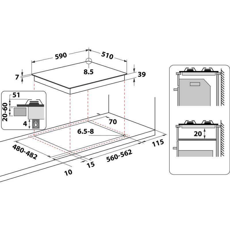 Whirlpool-Table-de-cuisson-GMWL-628-IXL-FR-Inox-Ixelium-Gaz-Technical-drawing