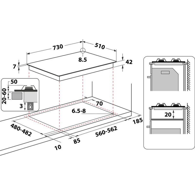 Whirlpool-Table-de-cuisson-GMWL-758-IXL-FR-Inox-Ixelium-Gaz-Technical-drawing