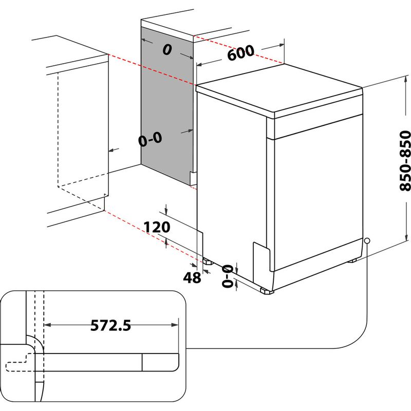 Whirlpool-Lave-vaisselle-Pose-libre-WFO-3O33-PL-X-Pose-libre-D-Technical-drawing