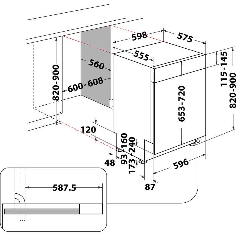 Whirlpool-Lave-vaisselle-Encastrable-WBC-3C26-X-Semi-integre-E-Technical-drawing