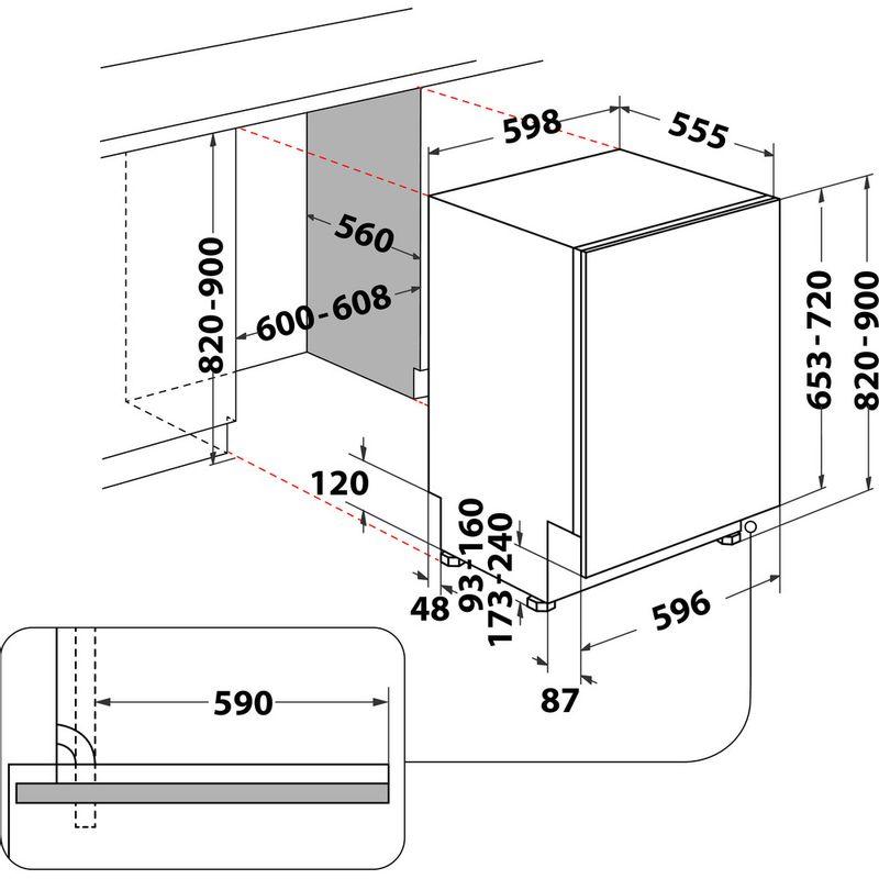 Whirlpool-Lave-vaisselle-Encastrable-WKIC-3C26-Tout-integrable-E-Technical-drawing