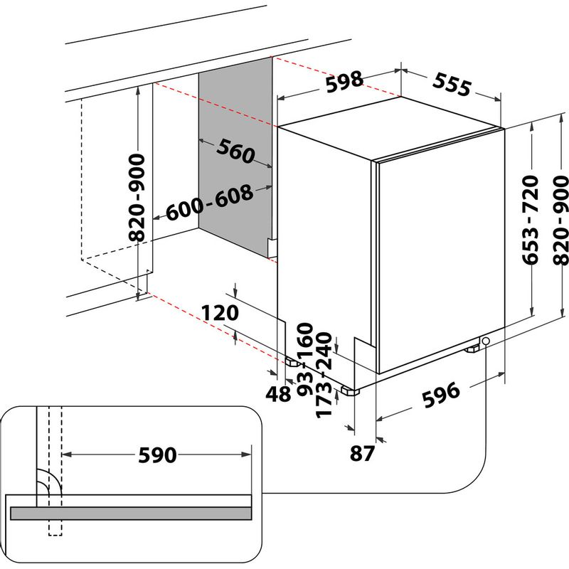 Whirlpool-Lave-vaisselle-Encastrable-WKCIO-3T133-PFE-Tout-integrable-D-Technical-drawing