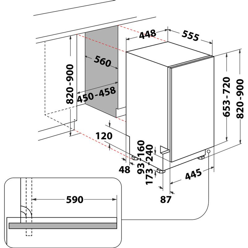 Whirlpool-Lave-vaisselle-Encastrable-WSIC-3M27-Tout-integrable-E-Technical-drawing