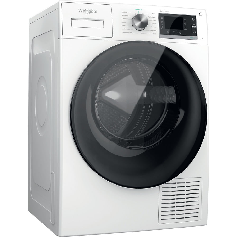 Whirlpool Séche-linge posable W6 D93WB FR : consultez les spécificités de votre appareil et découvrez toutes ses fonctions innovantes pour votre famille et votre maison.